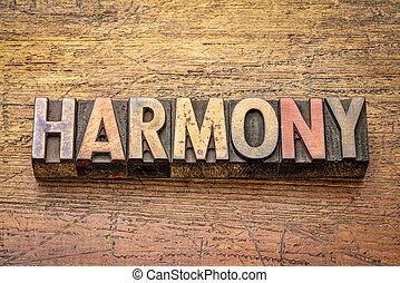 harmony word in letterpress wood type