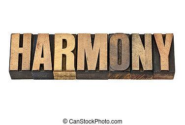 harmony word in wood type