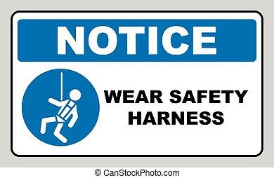 harnais, sécurité, usure, signe
