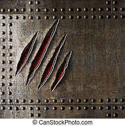 harnas, metaal muur, achtergrond, krassen, klauw