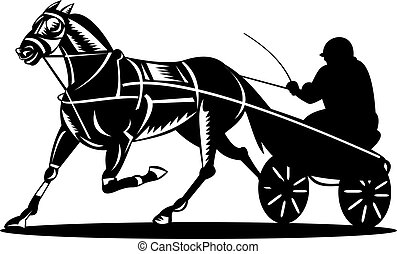 Harness racing - Illustration of a harness and horse racing,...