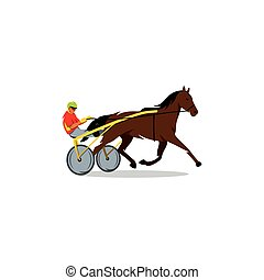 Harness racing. Vector Illustration. - The athlete runs a...