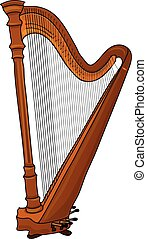 Harp - A wooden harp. A classical music instrument.