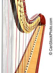 Harp detail on white background