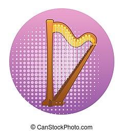 Harp Icon Ancient Music Instrument Concept
