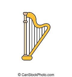 Harp icon, cartoon style