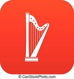 Harp icon digital red
