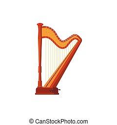 Harp icon in cartoon style