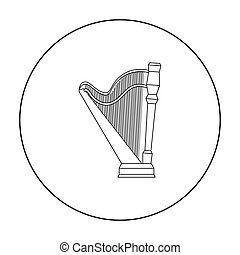 Harp icon in outline style isolated on white background. Musical instruments symbol stock vector illustration