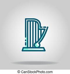harp icon or logo in  twotone - Logo or symbol of harp icon ...