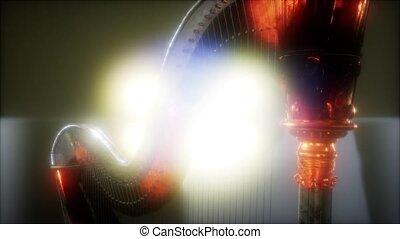 Harp instrument in dark with bright lights