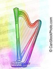 Harp. Iridescen colours. Vector illustration.