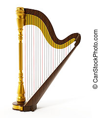 Harp isolated on white background. 3D illustration