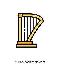 Harp, lyre, music instrument flat color line icon.