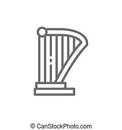 Harp, lyre, music instrument line icon.