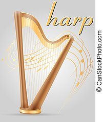 harp musical instruments stock vector illustration