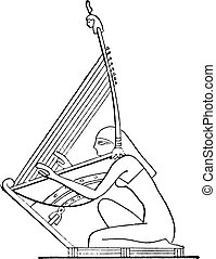 Harp on a rod, vintage engraving.