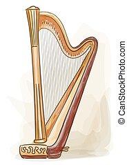 Harp. Vector illustration.