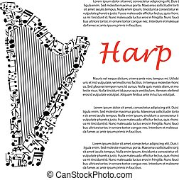 Harp with musical notes for infographics design