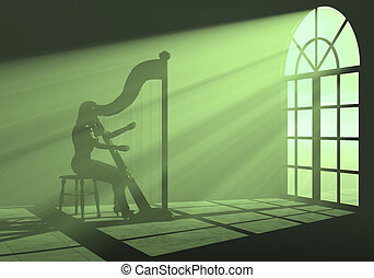 Woman playing harp in the light