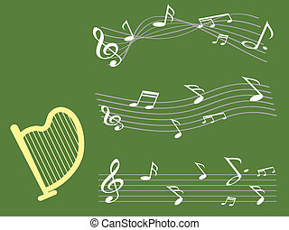 harpa, com, nota música, fundo