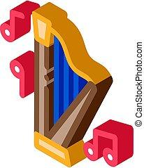 harpa, vektor, musikalisk, isometric, illustration, ikon