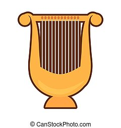harpe, musik, cartoon, lyre, klassisk