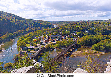 Harpers Ferry historic town and National Park as seen from a...