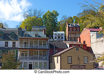 Harpers Ferry historic town and park in West Virginia, US. -...
