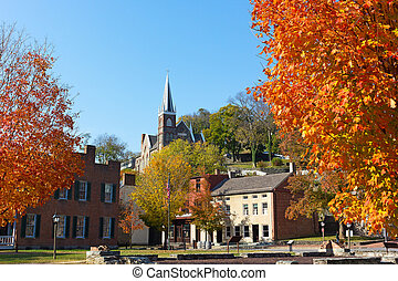 Harpers Ferry historic town in autumn, West Virginia, USA.