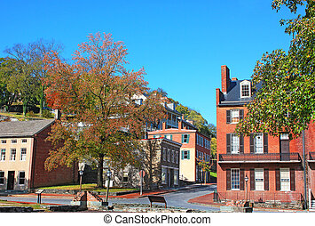 Harpers Ferry historic town in early autumn, West Virginia,...