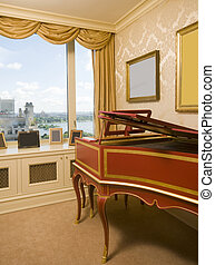 harpsichord in luxurious penthouse bedroom suite with view...