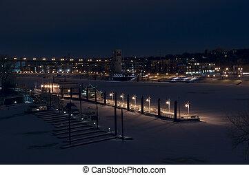 Harriet Island Pier on Mississippi River in Winter