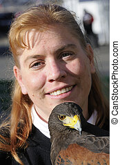 Harris Hawk and handler