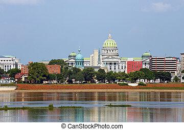 Harrisburg panorama with Capitol building across Susquehanna...