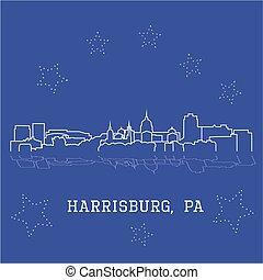 Harrisburg, Pennsylvania. City skyline sketch