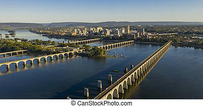 Harrisburg state capital of Pennsylvania along on the Susquehanna River