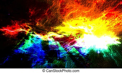 Harsh Vivid Color Nebula Supernova in Deep Space - Abstract Background Texture