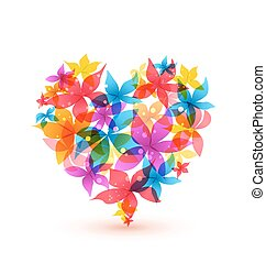 hart, abstract, bloemen