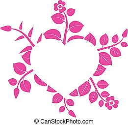 hart, abstract, bloemen, ingelijst