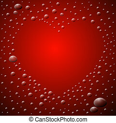 hart, abstract, gevormd, waterdrops., achtergrond., rood
