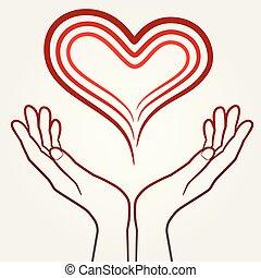 hart, abstract, vasthouden, illustratie, handen