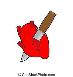 hart, anatomy., liefde, symbool., illustratie, vector, doden, mes