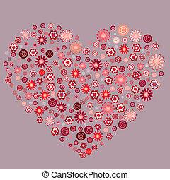 hart, anders, gemaakt, abstract, stylized, bloemen