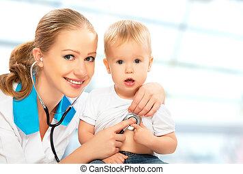 hart, arts, pediatrician., stethoscope, baby, luistert