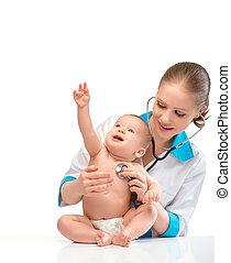 hart, arts, pediatrician., vrijstaand, stethoscope, baby, witte , luistert