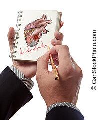 hart, arts, tekening, cardiogram, ritmes, aanval