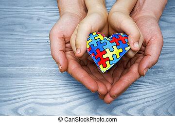 hart, autisme, kind, model, raadsel, jigsaw, vader, autisme, dag, handen, wereld, of, bewustzijn