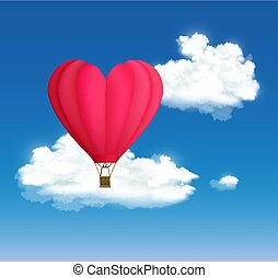 hart, balloon, hemel, hete lucht, vorm, achtergrond