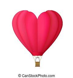 hart, balloon, warme, vrijstaand, lucht, vorm, witte , backgrou